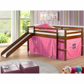 Twin Loft Bed with Slide and Pink Curtain in Light Espresso