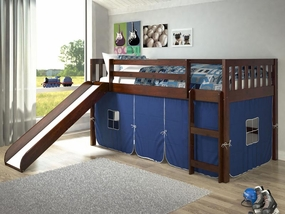Twin Mission Loft Bed with Slide and Blue Tent in Dark Cappuccino