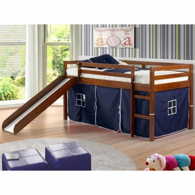 Twin Loft Bed with Slide and Blue Tent in Light Espresso