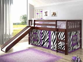 Twin Mission Loft Bed with Slide and Zebra Tent in Dark Cappuccino