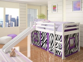 Twin Loft Bed with Slide and Zebra Tent in White
