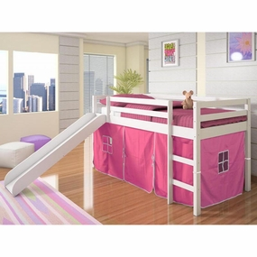 Twin Loft Bed with Slide and Pink Curtain in White