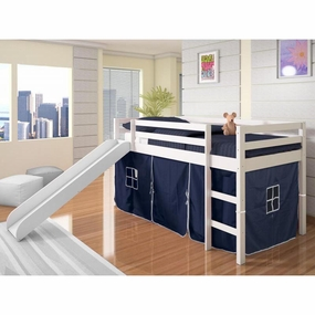 Twin Loft with Slide and Blue Curtain in White