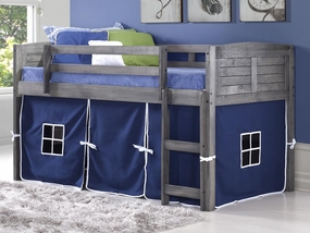 Twin Louver Low Loft Bed with Blue Curtain in Antique Grey