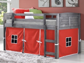 Twin Louver Low Loft Bed with Red Curtain in Antique Grey