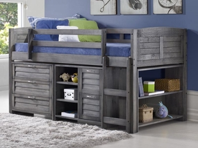 Twin Louver Modular Low Loft Bed Antique Grey - Combo A