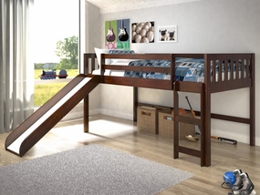 Twin Mission Low Loft Bed with Slide in Dark Cappuccino