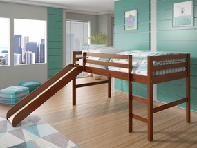Twin Low Loft Bed with Slide in Light Espresso