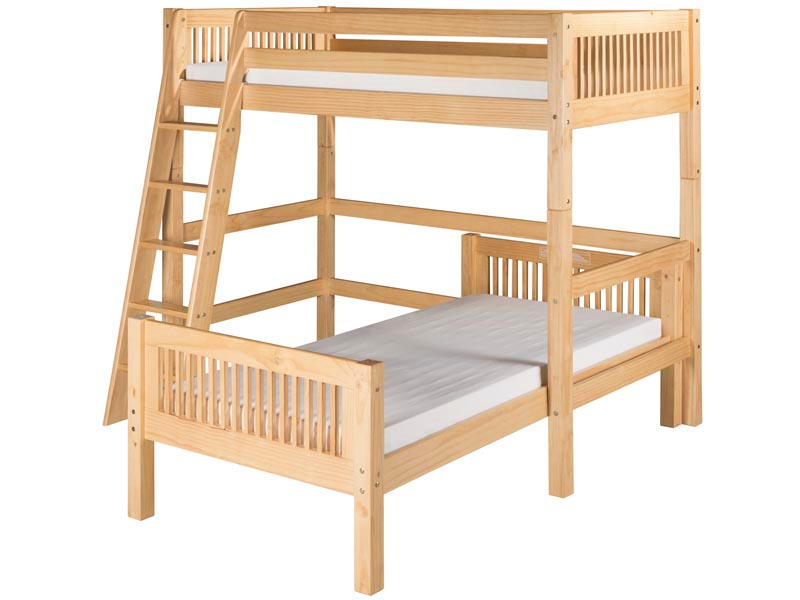 Twin/Twin L-Shape High Loft Bed in Natural
