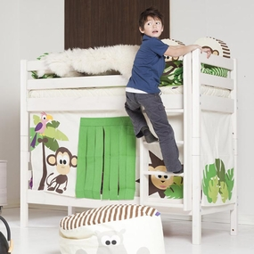 Twin/Twin Low Bunk Bed with Curtain shown in Whitewash