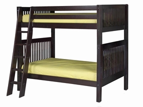 Twin/Twin Mission Bunk Bed with Angled Ladder in Cappuccino
