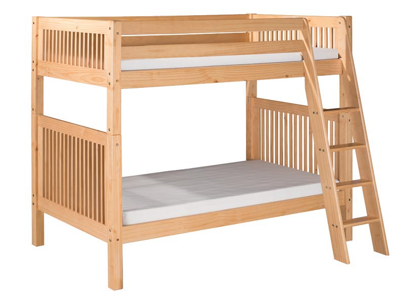 Twin/Twin Mission Bunk Bed with Angled Ladder in Natural