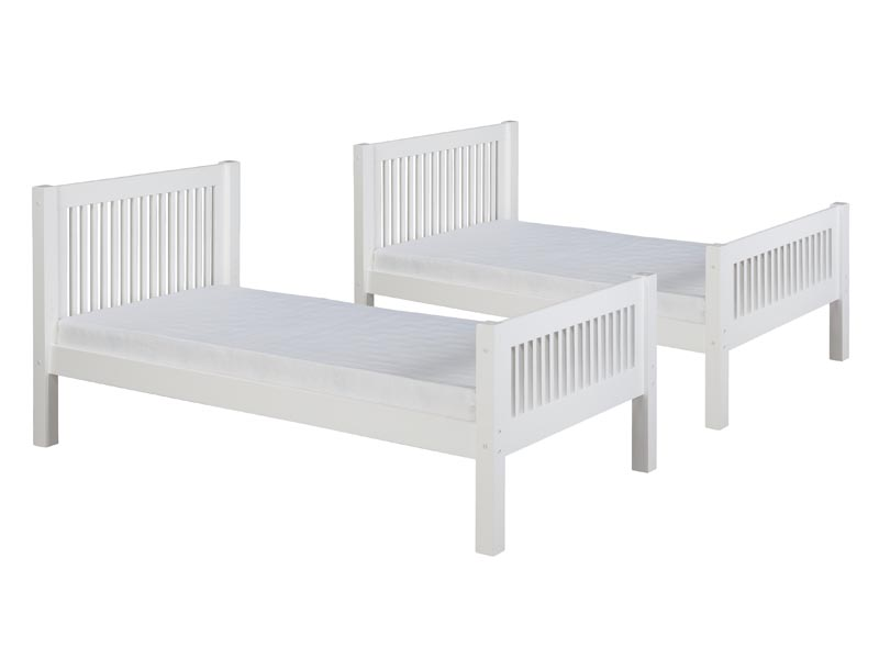 Twin/Twin Mission Bunk Bed with Angled Ladder in White