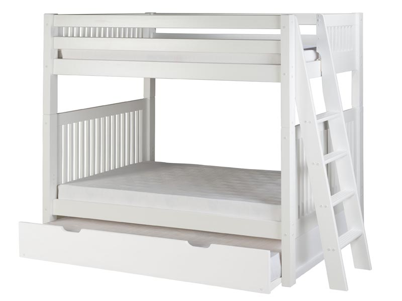 Twin/Twin Mission Bunk Bed with Lateral Ladder and Trundle in White