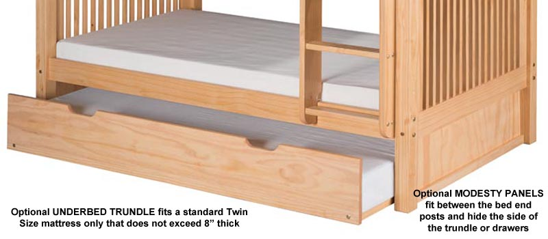 Twin/Twin Mission Bunk Bed with Lateral Ladder in Natural