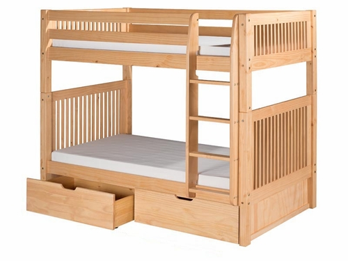 Twin/Twin Mission Bunk Bed with Straight Ladder and Drawers in Natural