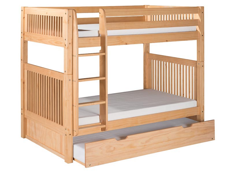 Twin/Twin Mission Bunk Bed with Straight Ladder and Trundle in Natural