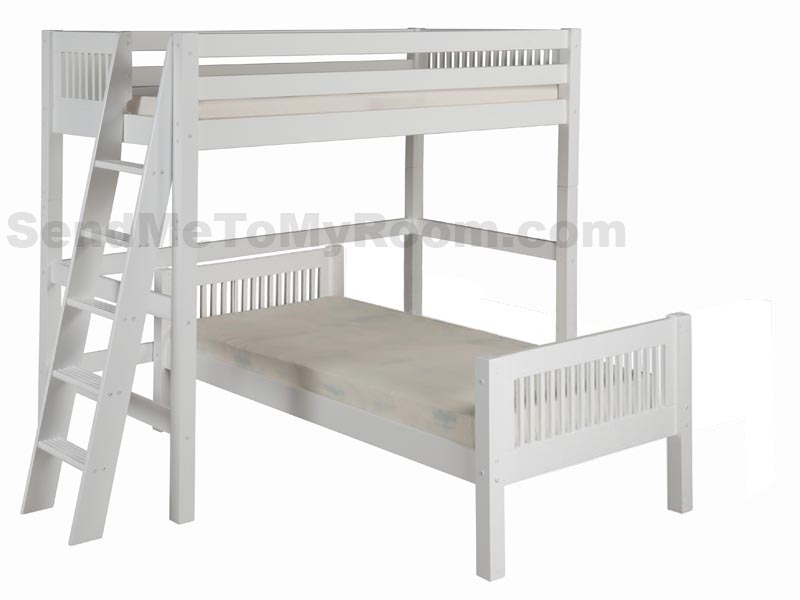 Twin/Twin Mission L-Shape High Loft Bed with Lateral Ladder in White