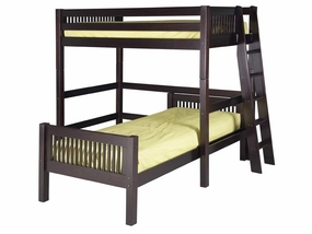 Twin/Twin Mission L-Shape Loft Bed with Lateral Ladder in Cappuccino