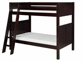 Twin/Twin Panel Bunk Bed with Angled Ladder in Cappuccino