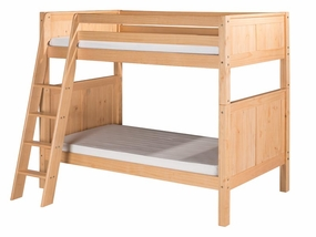 Twin/Twin Panel Bunk Bed with Angled Ladder in Natural