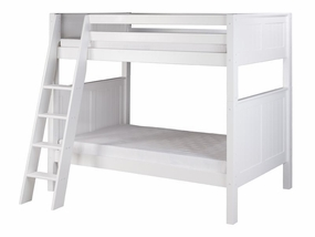 Twin/Twin Panel Bunk Bed with Angled Ladder in White