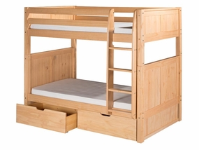 Twin/Twin Panel Bunk Bed with Straight Ladder and Drawers in Natural