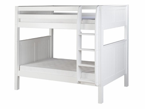 Panel Bunk Bed with Straight Ladder in White