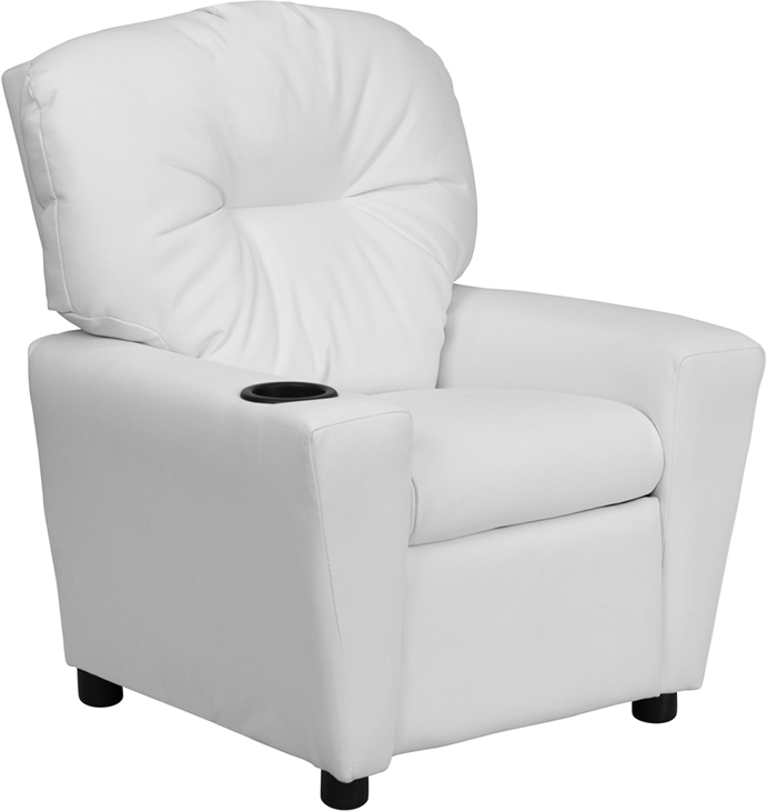 White kids recliner with cup holder