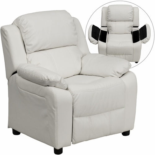 White kids recliner with storage arms
