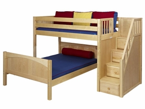 Wiggle Mid-Height L-Shaped Loft Bed with Stairs