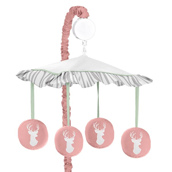 Woodsy Coral, Mint and Grey Musical Crib Mobile