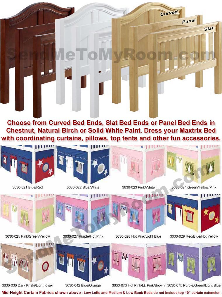 Wow 21 Low Loft Bed with Curtain and Top Tent