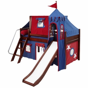 Wow 21 Twin Low Loft Castle Bed with Angled Ladder
