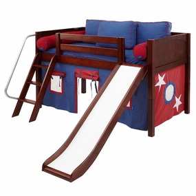 Wow 21NT Twin Low Loft Bed with Slide, Angled Ladder and Curtain