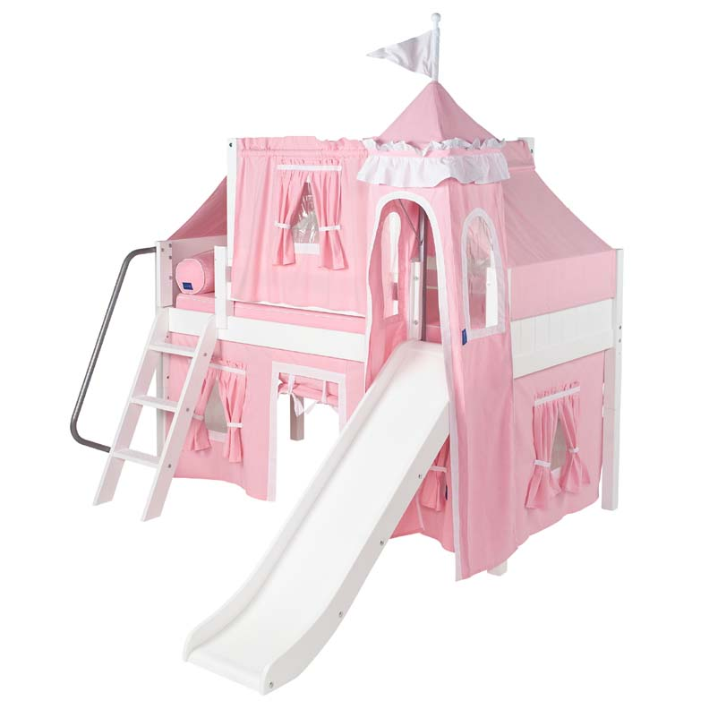 Wow 23 Twin Low Loft Castle Bed with Angled Ladder