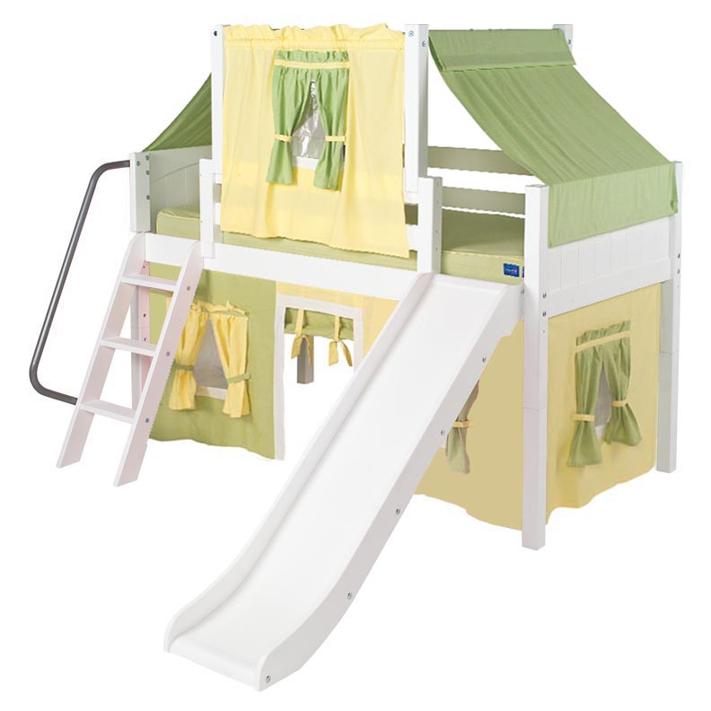 Wow 24 Low Loft Bed with Curtain and Top Tent