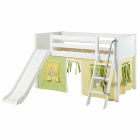 Wow 24NT Twin Low Loft Bed with Slide Angled Ladder and Curtain