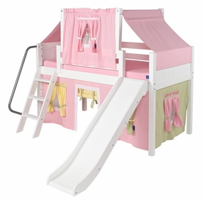 Wow 25 Low Loft Bed with Curtain and Top Tent