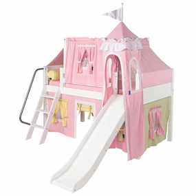 Wow 25 Twin Low Loft Castle Bed with Angled Ladder