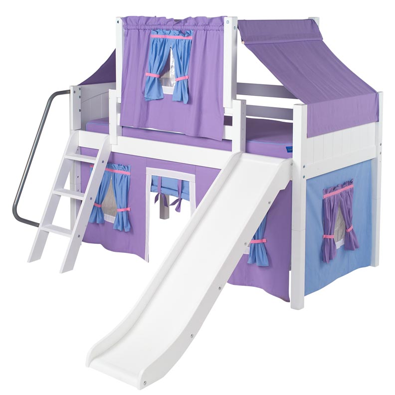 Wow 27 Low Loft Bed with Curtain and Top Tent