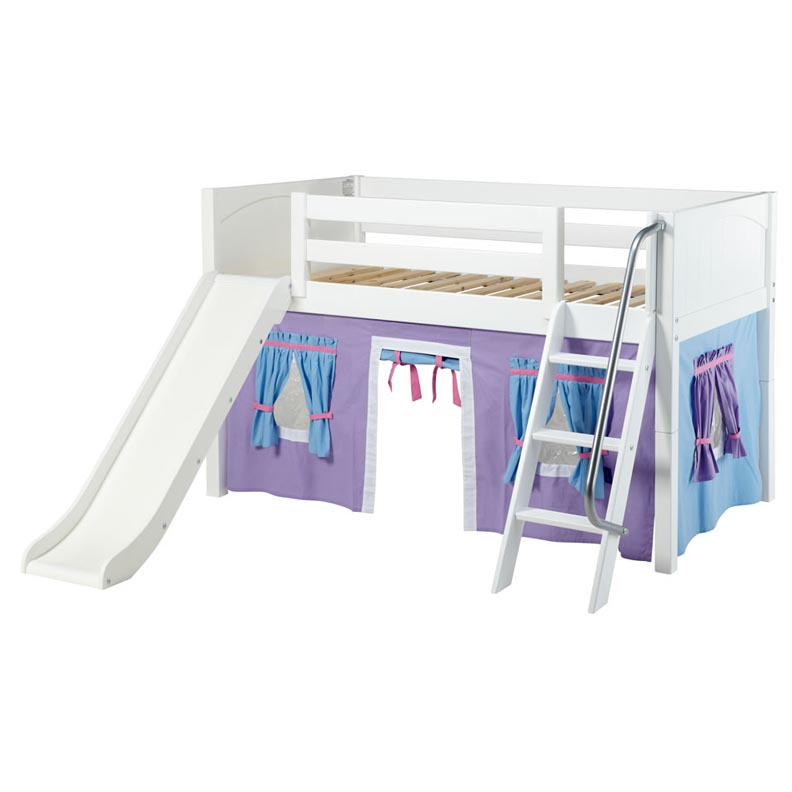 Twin Loft Bed With Slide Cottage Twin Low Loft Bed White