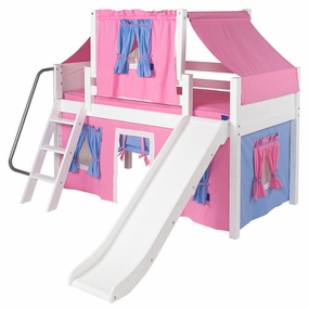Wow 28 Low Loft Bed with Curtain and Top Tent