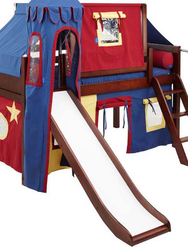 Wow 29 Twin Low Loft Castle Bed with Angled Ladder