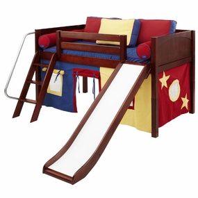 Wow 29NT Twin Low Loft Bed with Slide, Angled Ladder and Curtain