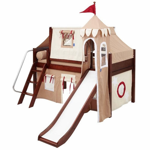 Wow 30 Twin Low Loft Castle Bed with Angled Ladder