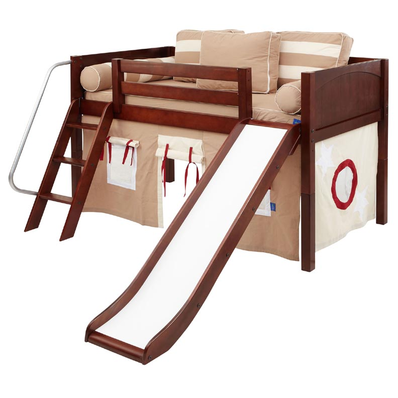 Wow 30NT Twin Low Loft Bed with Slide, Angled Ladder and Curtain