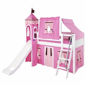 Wow 73 Twin Low Loft Castle Bed with Angled Ladder