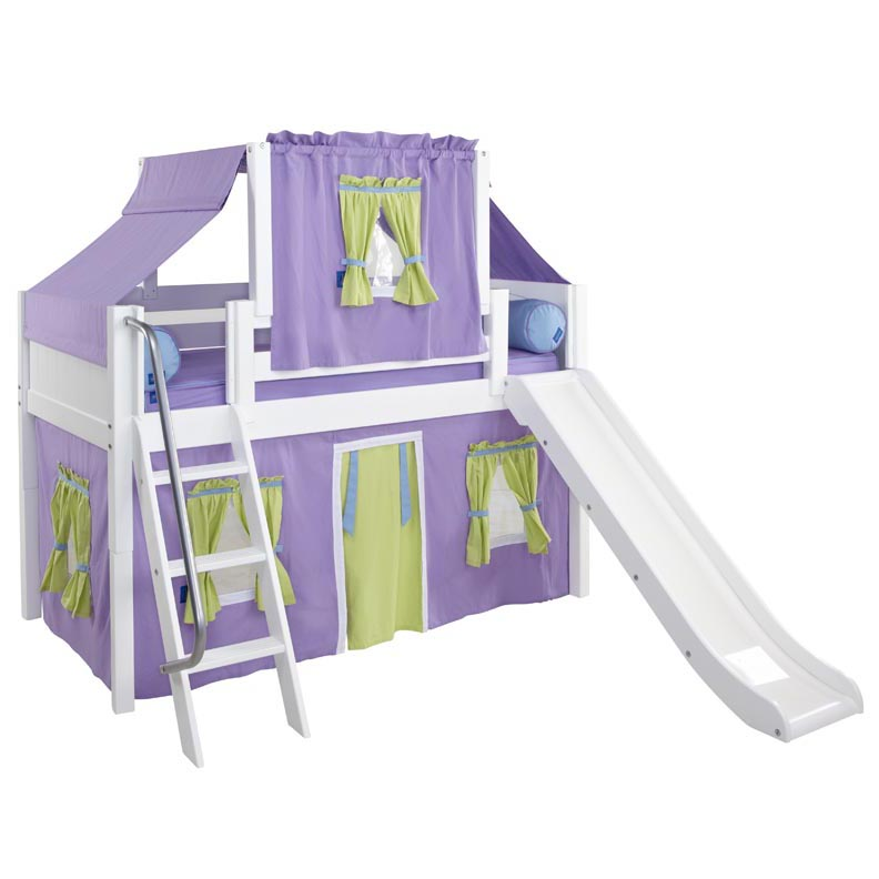 Wow 75 Low Loft Bed with Curtain and Top Tent