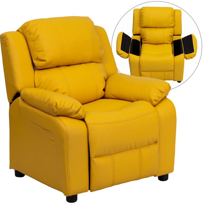 Yellow kids recliner with storage arms